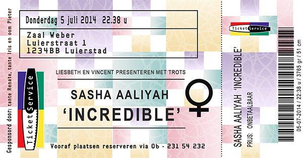 Concert- Bioscoopkaartje Geboortekaartje ticketservice voor