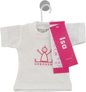 Mini T-Shirtje Geboortekaartje isaac roze